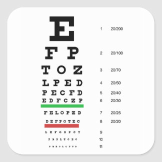 eye vision chart of Snellen for opthalmologist Square Sticker