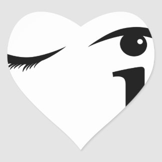 Eye winking with letter i forming the eyeball heart sticker