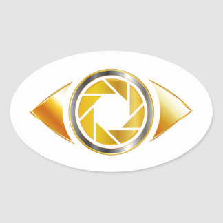 Eye with aperture symbolizing photographic eye oval sticker