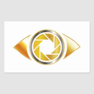 Eye with aperture symbolizing photographic eye rectangular sticker