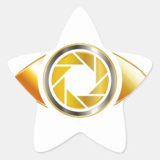 Eye with aperture symbolizing photographic eye star sticker