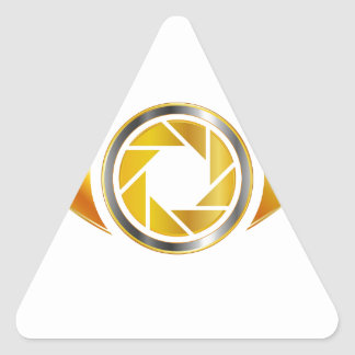 Eye with aperture symbolizing photographic eye triangle sticker