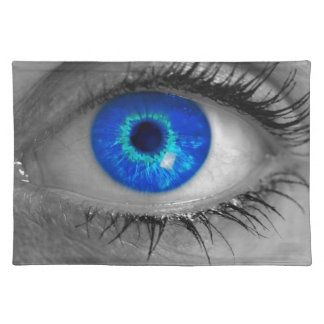 Eye with blue iris looks at viewer concept ma cloth placemat