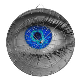 Eye with blue iris looks at viewer concept ma dart boards