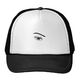 Eye with contact lens trucker hat