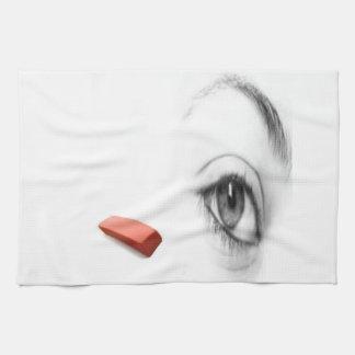 eye with eraser hand towel