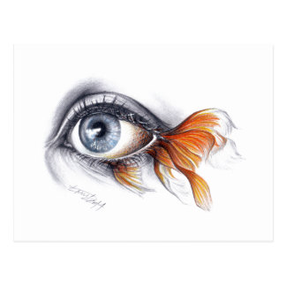 Eye with fish tail Surreal art Postcard