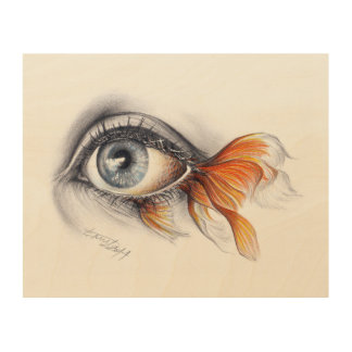 Eye with fish tail Surreal art Wood canvas