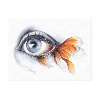 Eye with fish tail Surreal art Wrapped canvas