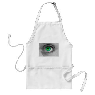Eye with green iris looks at viewer concept macro adult apron