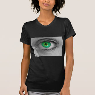 Eye with green iris looks at viewer concept macro T-Shirt
