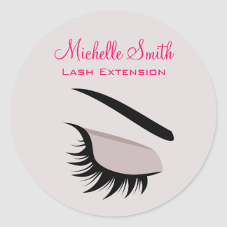 Eye with long lashes lash extension branding classic round sticker