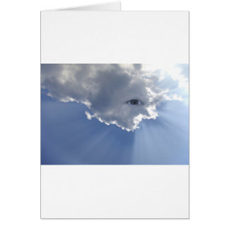 Eye with rays through clouds card