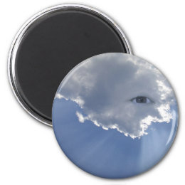 Eye with rays through clouds magnet