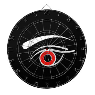 Eye with red iris dartboard with darts