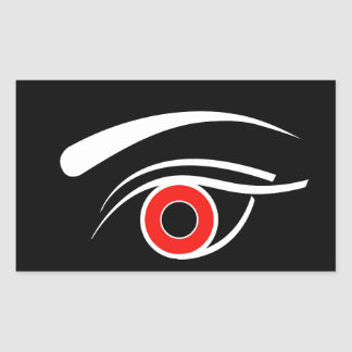 Eye with red iris rectangular sticker