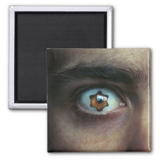 Eye with Star Shaped Iris 2 Inch Square Magnet