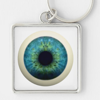 EYEBALL! (A great Halloween novelty item!) ~ Silver-Colored Square Keychain