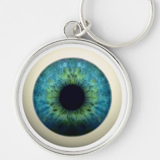 EYEBALL! (A great Halloween novelty item!) ~ Silver-Colored Round Keychain