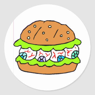 Eyeball Burger Classic Round Sticker