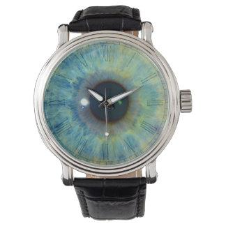 Eyeball clock face wristwatch