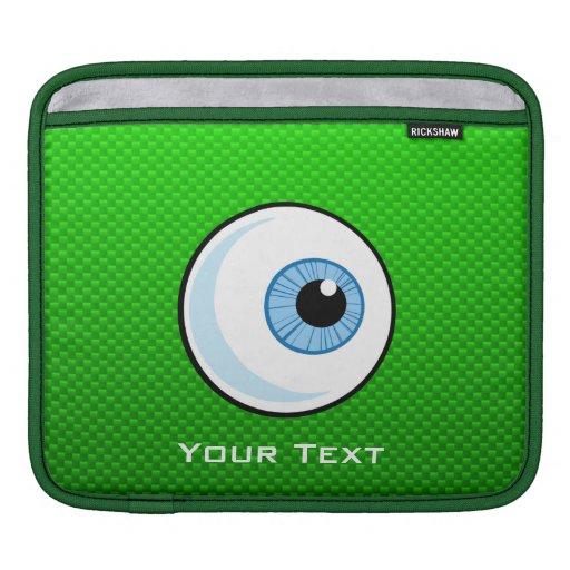 Eyeball; Green iPad Sleeves