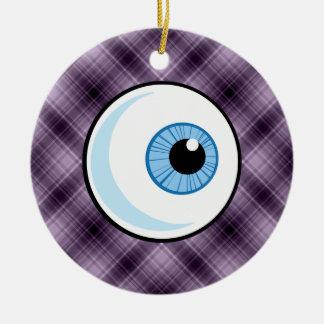 Eyeball; Purple Double-Sided Ceramic Round Christmas Ornament