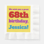 [ Thumbnail: Eyecatching 68th Birthday Paper Napkins ]