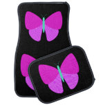 [ Thumbnail: Eyecatching Artistic Line Pattern Butterfly Car Floor Mat ]