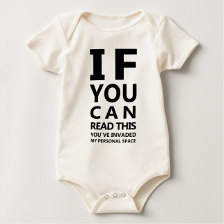 Eyechart T-Shirt: You've Invaded My Personal Space Baby Bodysuit