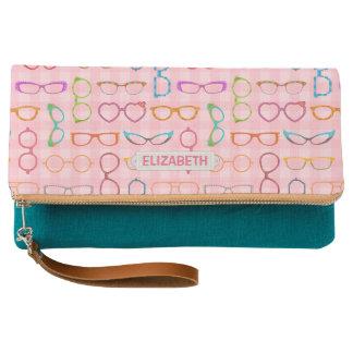 Eyeglass Frames Retro Modern Pink Gingham | Custom Clutch
