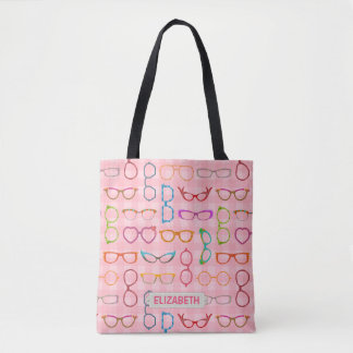 Eyeglass Retro Modern Hipster Frames Pink Gingham Tote Bag