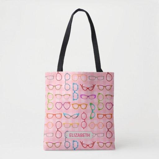 Eyeglass Frame Bags : Eyeglass Retro Modern Hipster Frames Pink Gingham Tote Bag ...
