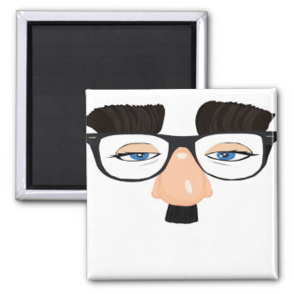 Eyeglasses and Face with Mustache 2 Inch Square Magnet