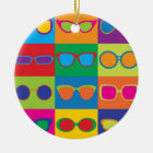 Eyeglasses Checkerboard Ceramic Ornament
