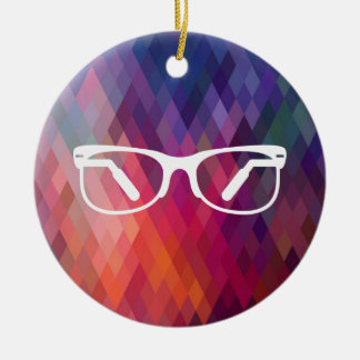Eyeglasses Functions Pictograph Double-Sided Ceramic Round Christmas Ornament