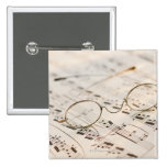 Eyeglasses on Sheet Music 2 Inch Square Button