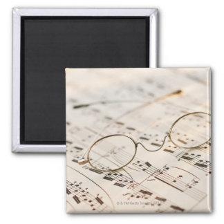 Eyeglasses on Sheet Music 2 Inch Square Magnet