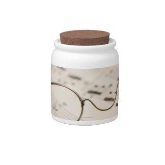Eyeglasses on Sheet Music Candy Jar