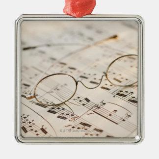 Eyeglasses on Sheet Music Metal Ornament