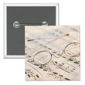 Eyeglasses on Sheet Music Pinback Button