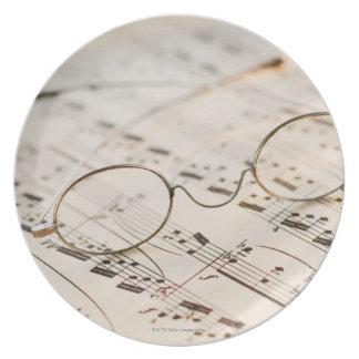 Eyeglasses on Sheet Music Dinner Plate