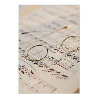Eyeglasses on Sheet Music Poster