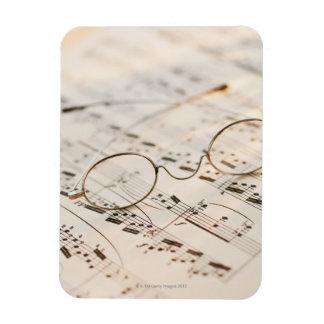 Eyeglasses on Sheet Music Rectangular Photo Magnet
