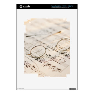 Eyeglasses on Sheet Music Skins For iPad 3