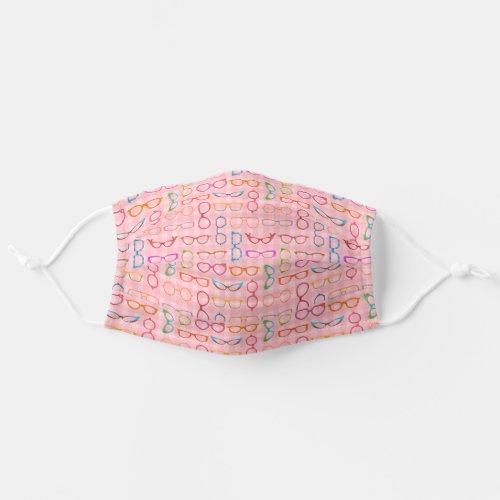 Eyeglasses Retro Midcentury Modern  Pink Gingham Cloth Face Mask