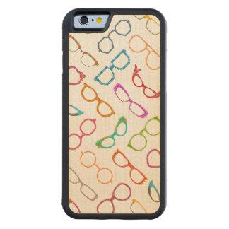 Eyeglasses Retro Modern Hipster Pattern Carved® Maple iPhone 6 Bumper Case