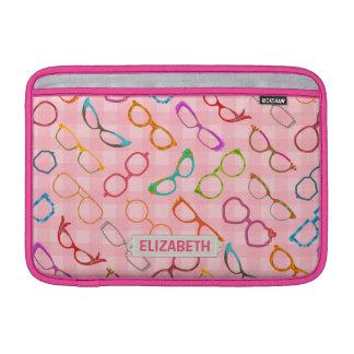 Eyeglasses Retro Modern Hipster Pink Gingham Name Sleeve For MacBook Air