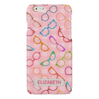 Eyeglasses Retro Modern Hipster Pink Gingham Name Glossy iPhone 6 Case