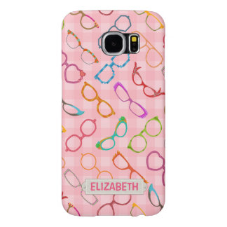 Eyeglasses Retro Modern Hipster Pink Gingham Name Samsung Galaxy S6 Case